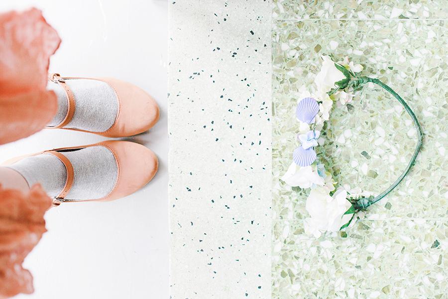 Flower Power outfit: DIY handmade floral wreath, Taobao grey crew socks, Mixit mary jane heels.