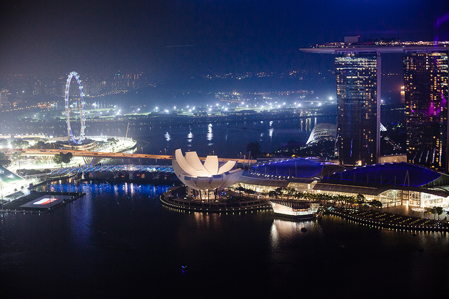 View of the Singapore Skyline at night: Marina Bay Sands, Singapore Flyer, from Empire, 45th floor of Singapore Land Tower.
