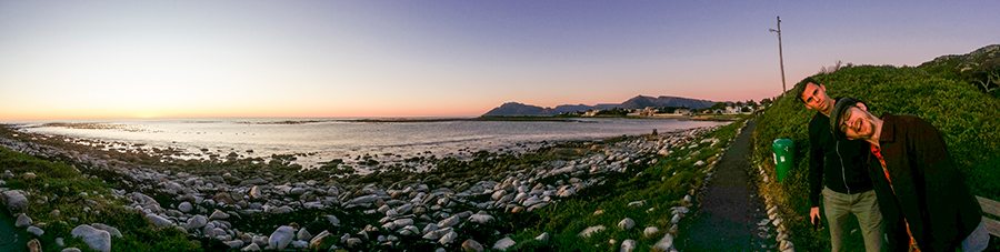 Panoramic view of the sunset at Rocky Shores, Hout Bay, Cape Town, South Africa.