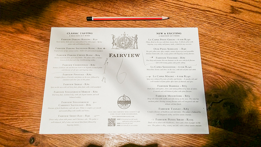 Wine list for the wine tasting at Fairview Wine and Cheese, South Africa.