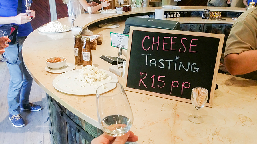 Cheese selection at the wine and cheese tasting at Fairview Wine and Cheese, South Africa.