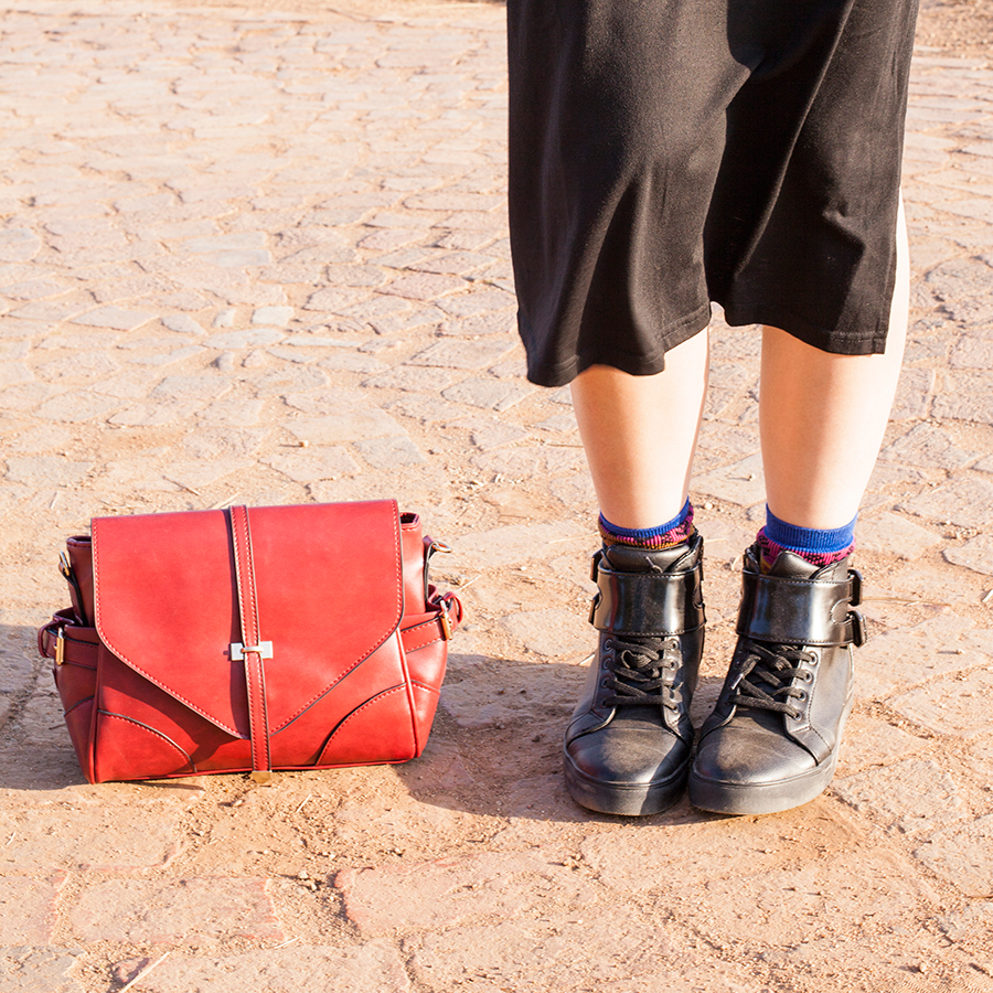 Outfit at Fairview Wine and Cheese, South Africa: Newdress black side slit dress, Dressgal red satchel handbag, Stance warrior crew socks via Shopbop, Zalora PU black high top sneakers.