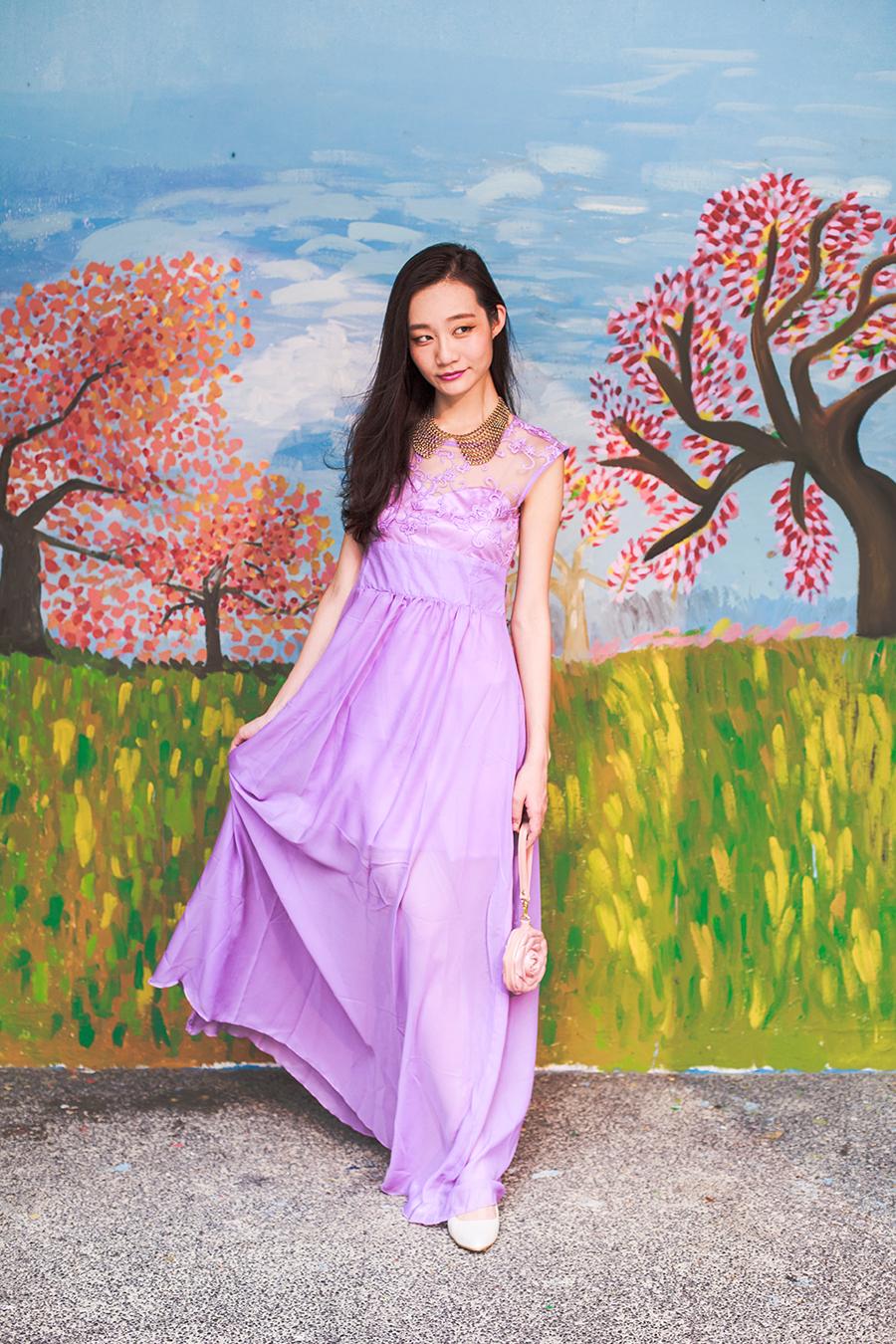 CNDirect purple lace chiffon dress, Forever 21 gold chain necklace, 3D Bag Original rose purse, Vincci white silver pumps.