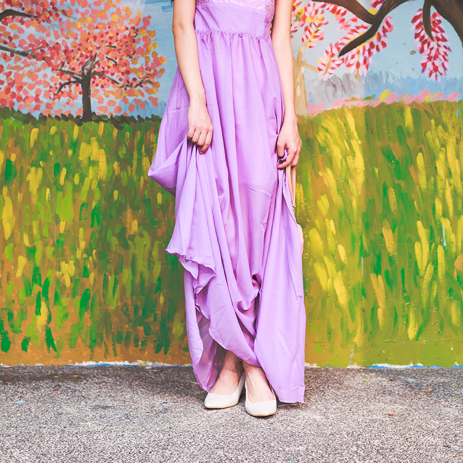 CNDirect purple lace chiffon dress, Vincci white silver pumps.