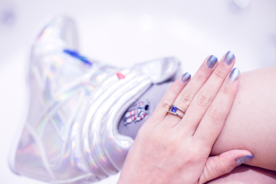 Halloween Spacesuit outfit: Taobao grey astronaut socks, Zalora iridescent concealed wedges sneakers, silver and blue nail polish, sapphire engagement ring.