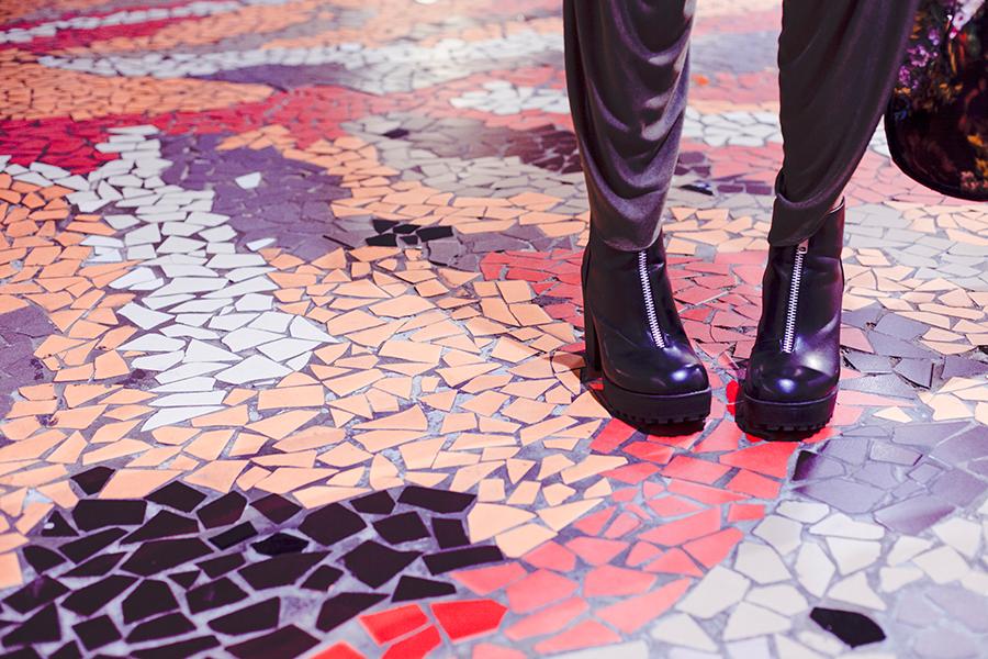 Rubi platform boots on mosaic.