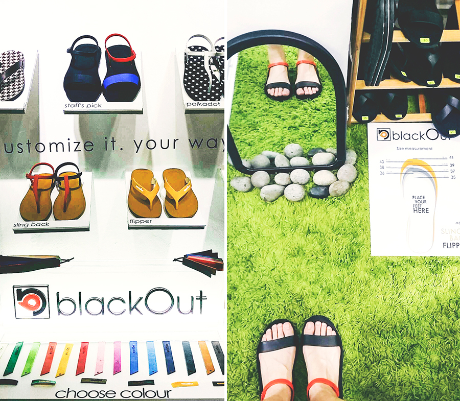 Colourful swatches to customise BlackOut SG sandals at City Plaza, Singapore.