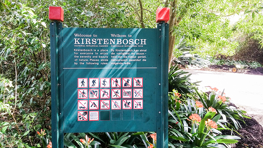 Signage at the entrance at Kirstenbosch, South Africa.