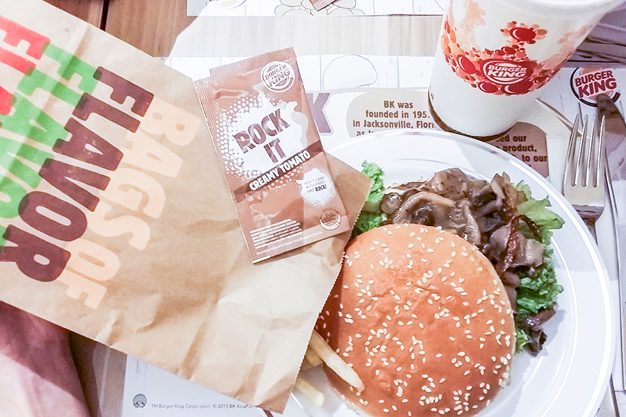 Media preview feast at Burger King Singapore: Gourmeji gourmet mushroom swiss with Shimeji mushroom.