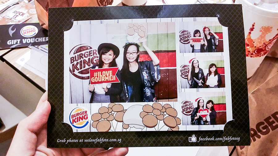 Photobooth photo at Burger King Singapore x Omy Media Gourmeji preview event with Kiyomi.