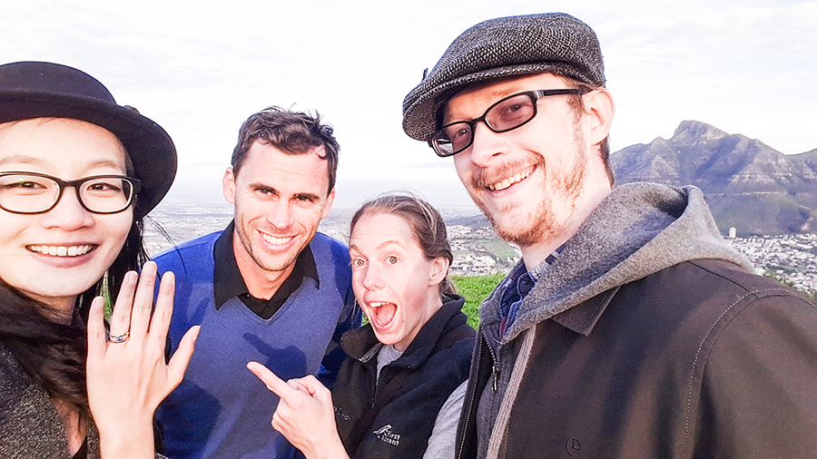 Wefie with the tricksters atop Signal Hill, Cape Town.