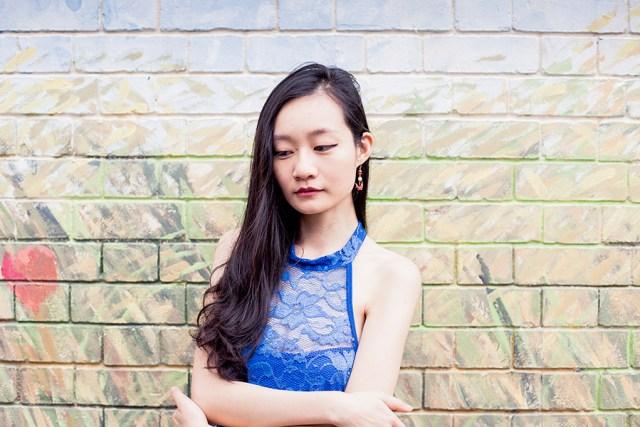 Dresslink lace cheongsam, Zalora Iridescent Hidden Wedge Sneakers, Red washi origami crane earring from Japan.