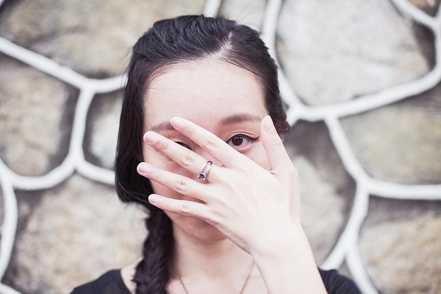 Sapphire ring peek-a-boo.