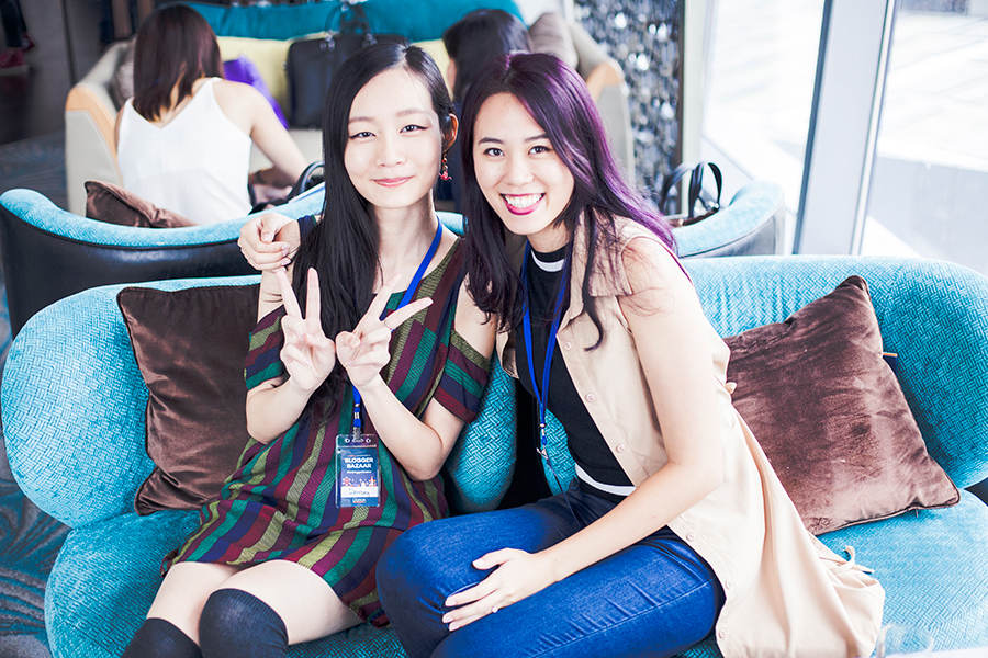 Photo of Ren and Jodulu at the Lazada Singapore's Blogger Bazaar.