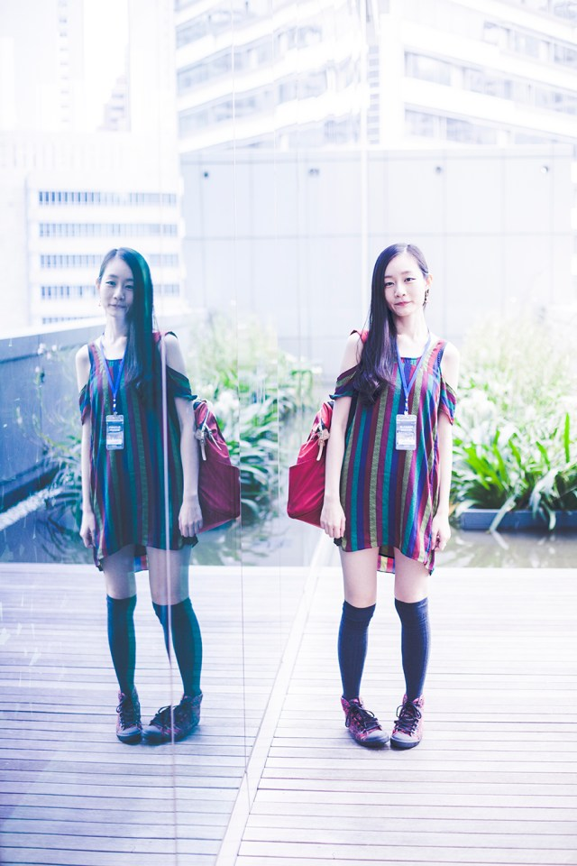 Outfit to the Lazada Singapore's Blogger Bazaar: Urban Outfitters striped dress, Tutuanna knit knee socks, Alexander McQueen x Puma sneakers.