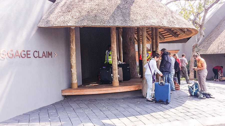 Outdoor baggage claim at Skukuza, Kruger National Park, South Africa.