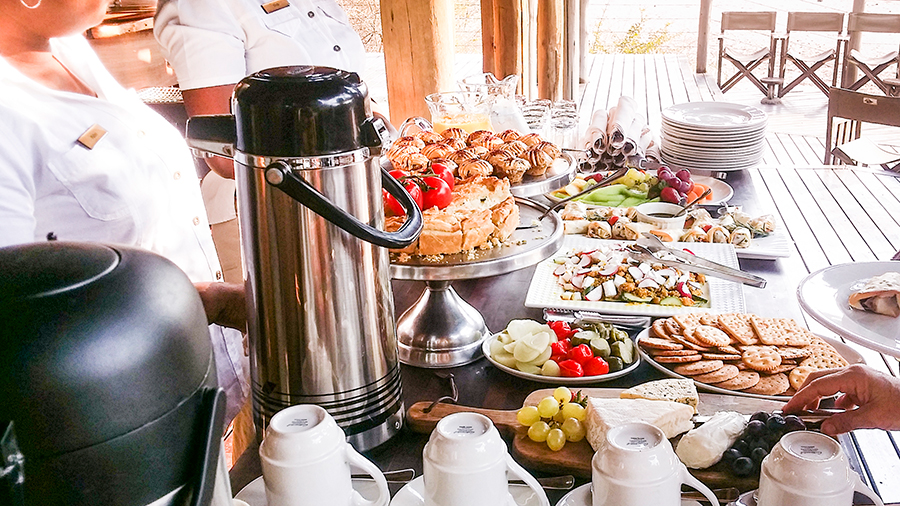 Lunch spread at Rhino Post Safari Lodge, Kruger National Park, South Africa.