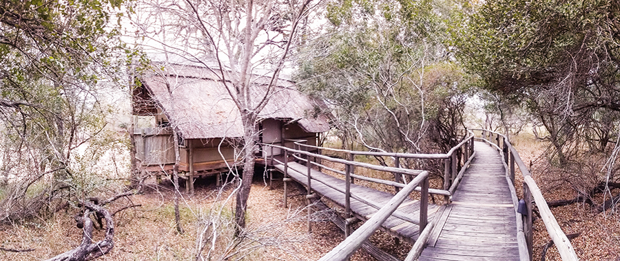 Exterior of lodgings at Rhino Post Safari Lodge, Kruger National Park, South Africa.
