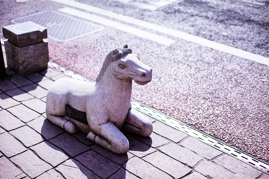 Weird horse sculpture at Omotesando at Narita, Chiba, Japan