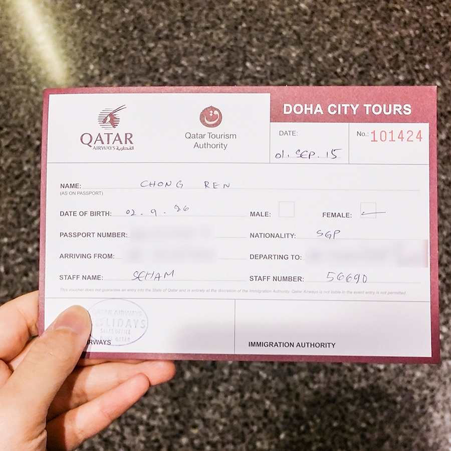 Ticket for the Doha City Tour from a layover at Hamad International Airport at Doha, Qatar.