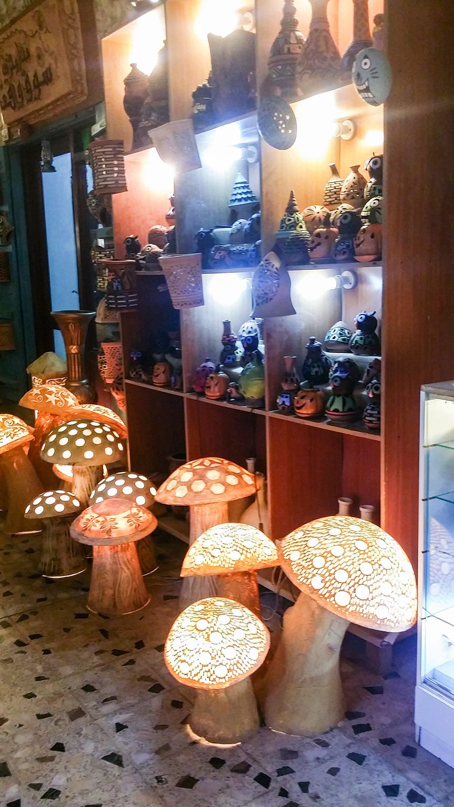 Mushroom lights on display at handicraft shops at Souq Waqif (سوق واقف), Doha, Qatar.