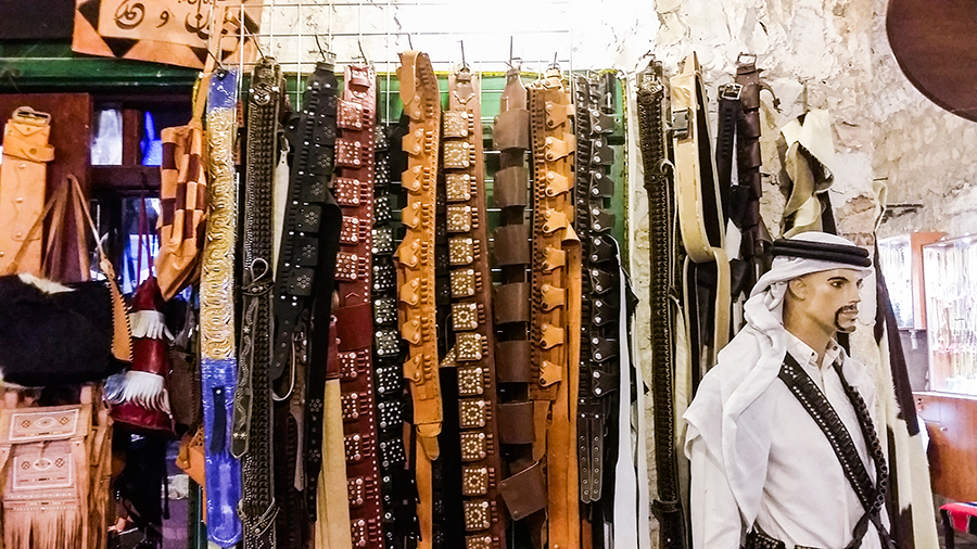 Belts at Souq Waqif (سوق واقف), Doha, Qatar.