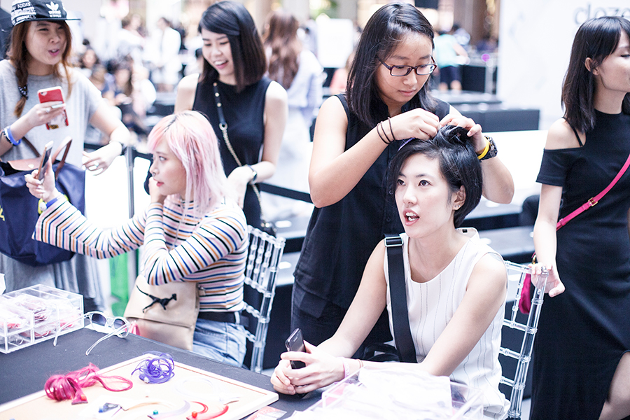 Colourful hair extensions at Clozette Style Party 2016 in Suntec City. #ClozetteStyleParty