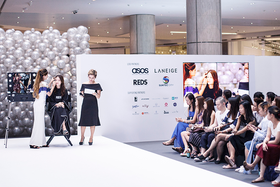 Cassandra Seet host, beauty Youtuber @morgansbeautybreakdown and blogger/model @itsfranxcesca using Laneige products at Clozette Style Party 2016 in Suntec City. #ClozetteStyleParty