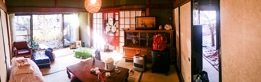 Adjoining rooms at our Kyoto Airbnb.