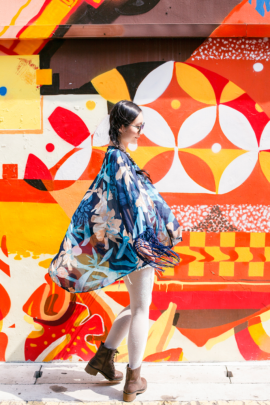 Summer Heat outfit Haji Lane, Singapore: CNDirect blue floral kimono cardigan, CNDirect high waist denim shorts, Shein white mid-sleeve shirt, Steve Madden boots, We Love Colors silver luxe shimmer tights,