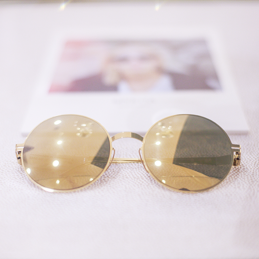 Gold Mykita sunglasses at the Her World x Optic Butler Event, Paragon, Singapore.