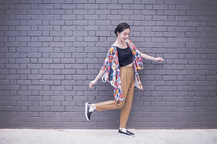 japan yukata kimono inspired casual pants style summer outfit.