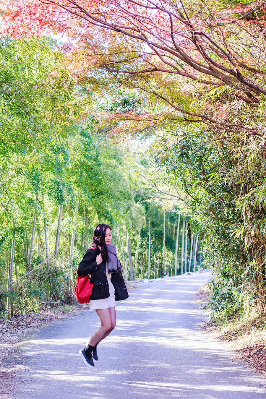 OOTD at Fushimi Inari in Kyoto, Japan: Uniqlo cashmere sweater, H&M menswear coat, Lowry's Farm shorts, DKNY tights, Taobao socks, Spurr monique shoes.