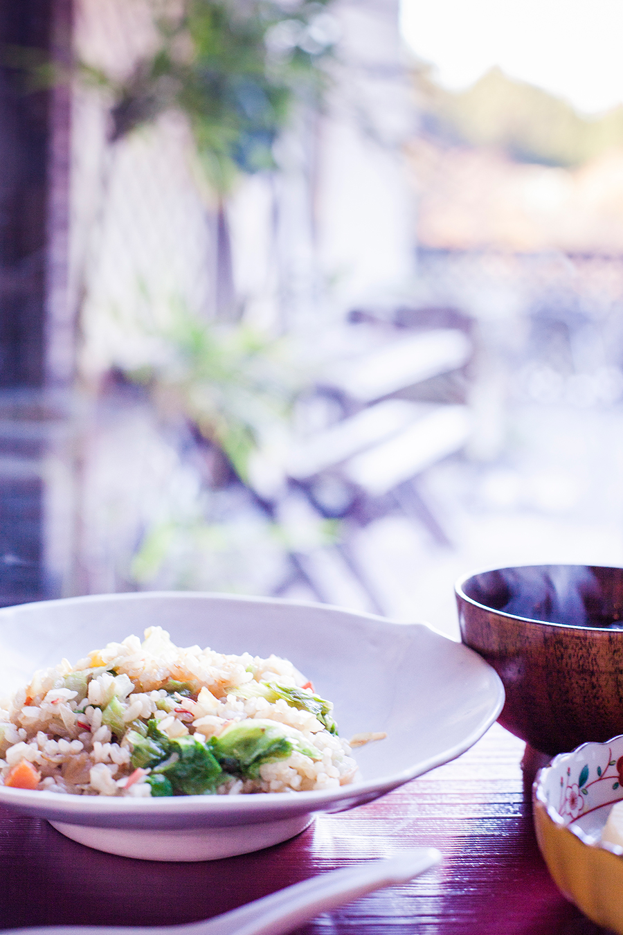 Breakfast at our Kyoto Airbnb: fried rice chahan, miso soup.