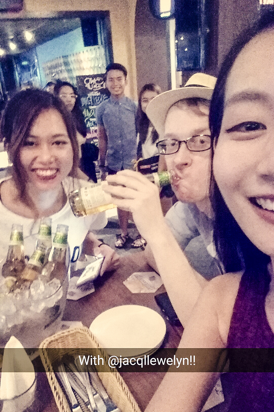 Selfie with Somersby Apple Cider bucket with Jacq and Ottie at Five Tapas Bar, Singapore.