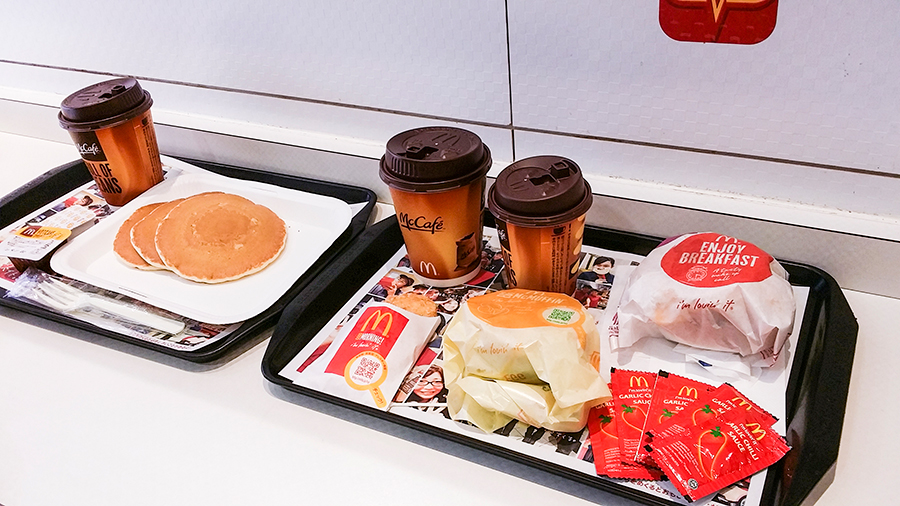 Breakfast at McDonald's in Tokyo, Japan.