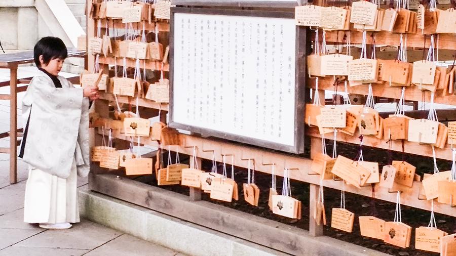 Young boy at Meiji Shrine at Harajuku, Tokyo Japan.