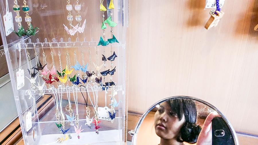 Origami Crane earrings and charms at Nakamise, Asakusa, Tokyo Japan.