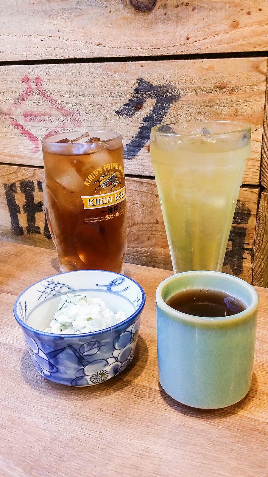 Potato Salad, Beer, Green tea at Isomaru Suisan in Tokyo, Japan.