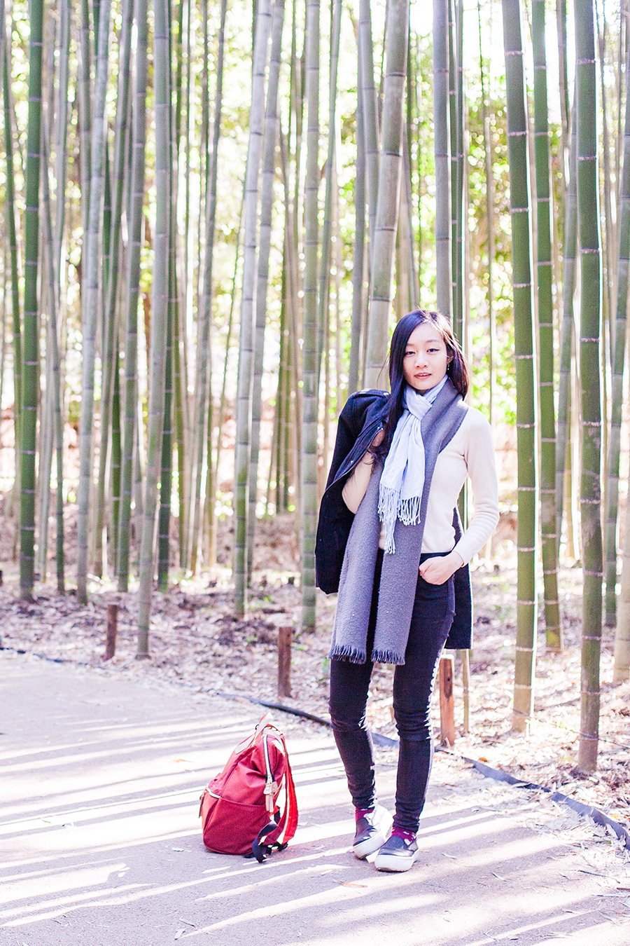 OOTD among bamboo shoots at Arashiyama, Kyoto, Japan.