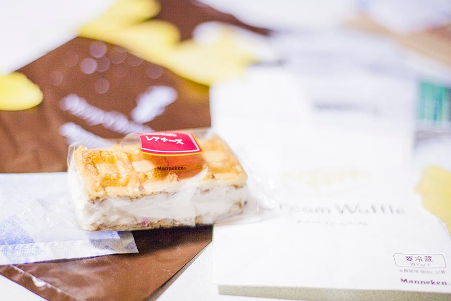 Manneken cream cheese waffle in Kyoto, Japan.