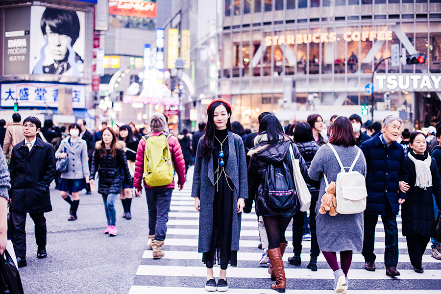 Ren in the middle of the Shibuya crossing, Japan.