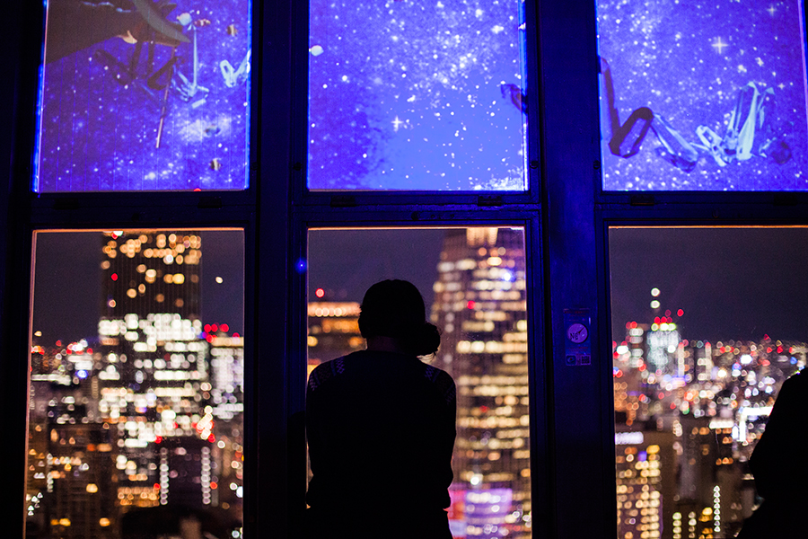 Silhouette of Shasha at the Tokyo Tower Observatory.