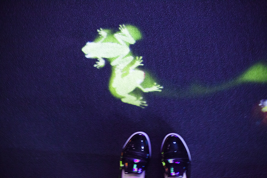 Little illuminated green frogs on the ground at Graffiti Nature at the Future World exhibit at the ArtScience Museum, Singapore.