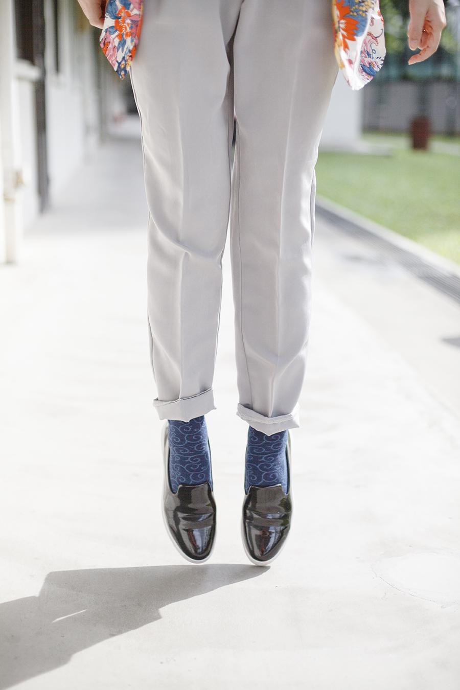 American Apparel grey trousers, Trunks-ya blue tabi socks, Zalora black slip-ons.