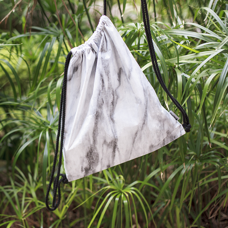 Snupped marble drawstring bag.