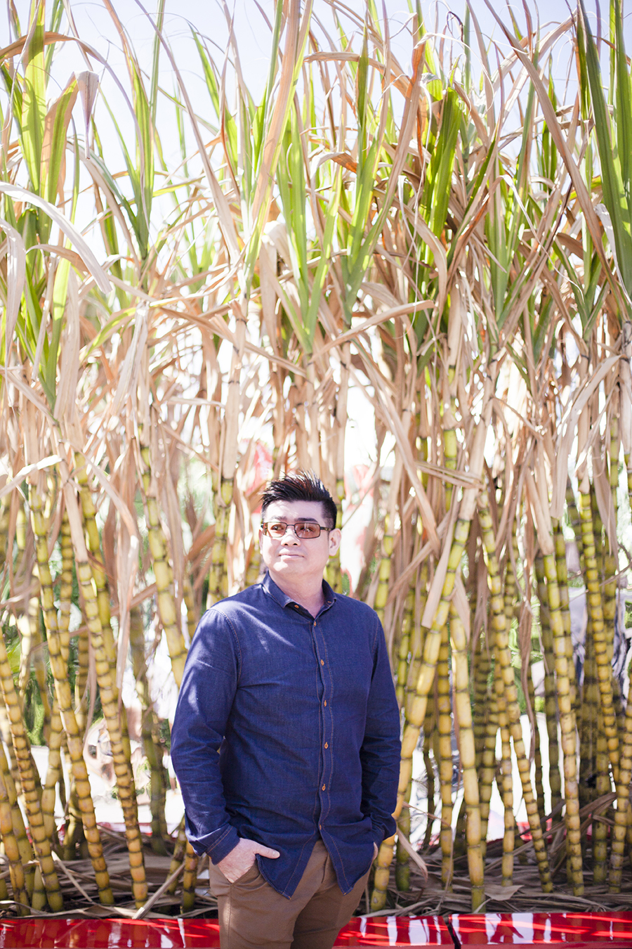 Ken in front of sugarcane maze at the Singapore Garden Festival.