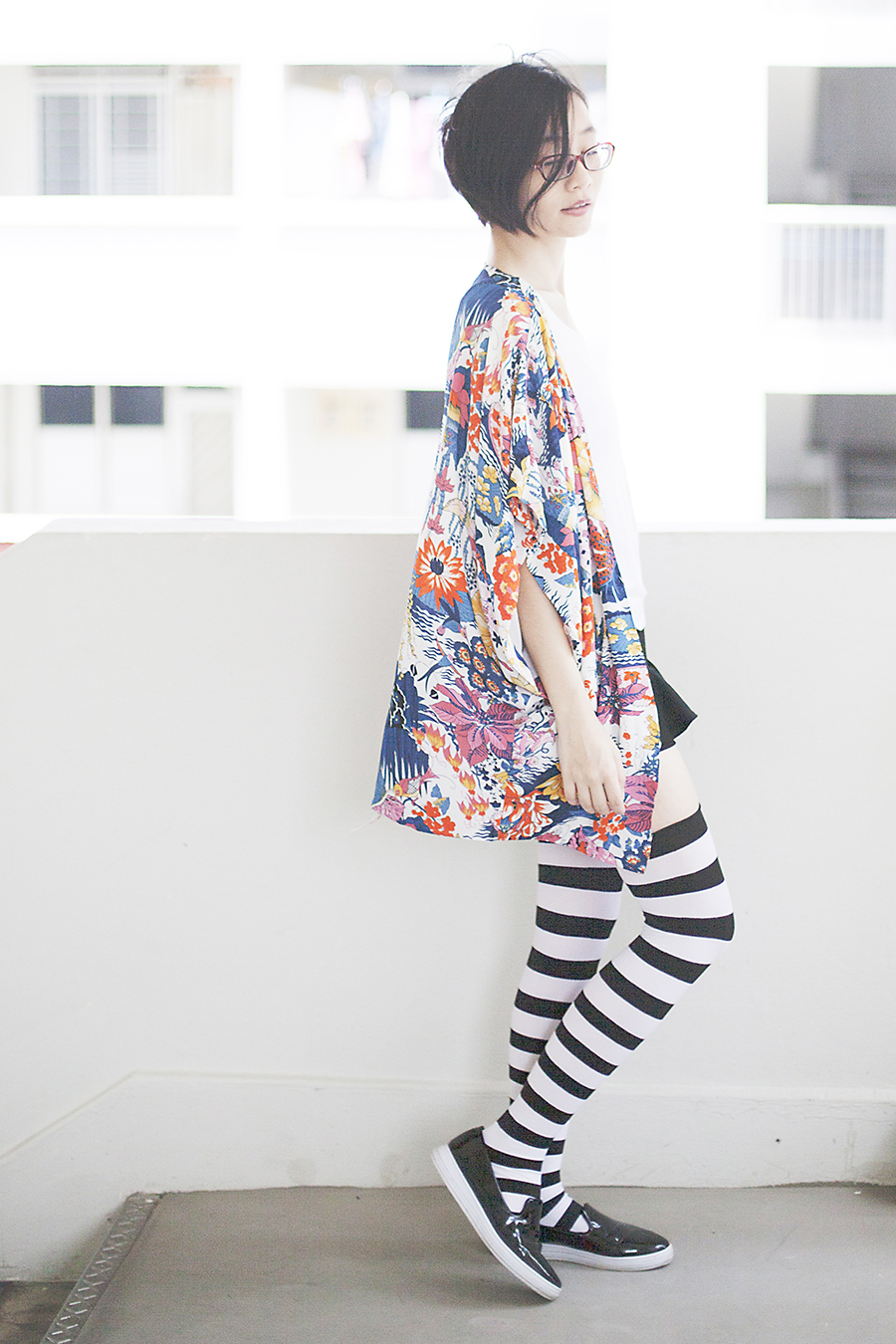 Dresslink floral kimono, We Love Colors black & white striped thigh high socks, Zalora shoes, Firmoo glasses.
