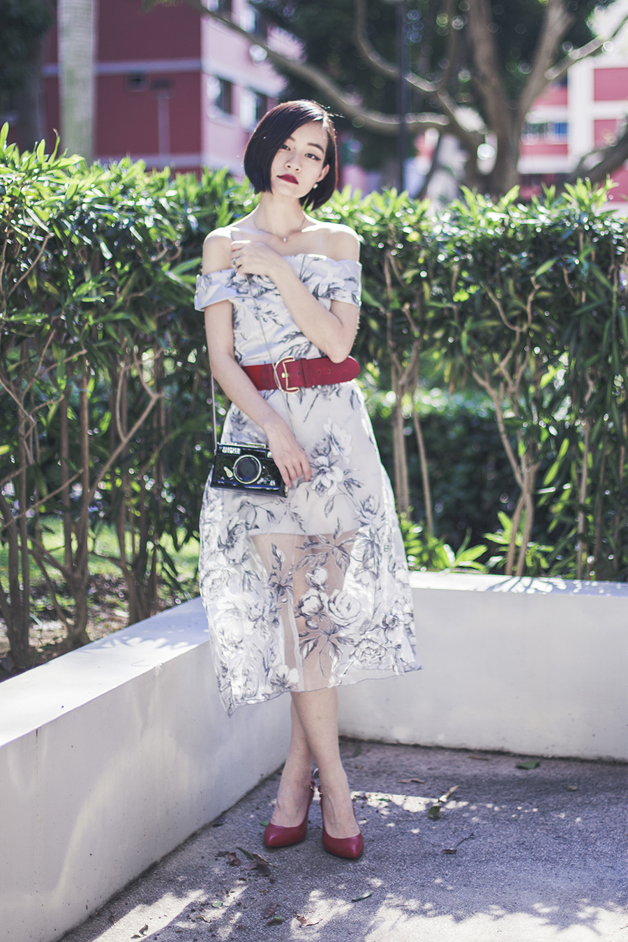 Floating Flowers outfit: Zaful Boat Shoulder grey dress, Sammydress camera crossbody bag, BETSY Elisabeth red slingback heels from Zalora, Accessorize red belt.