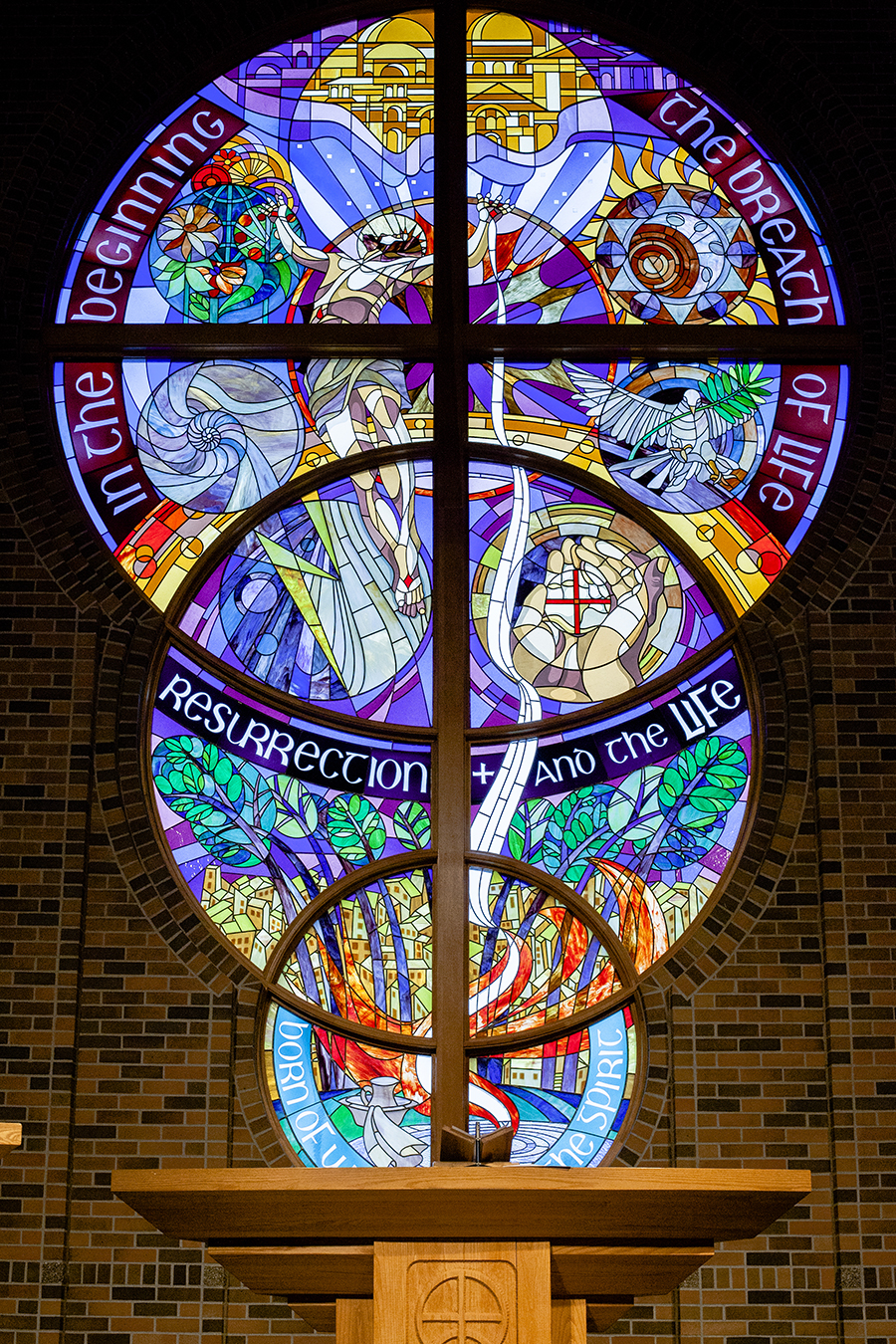 Stained glass at the Trinity Lutheran Church.